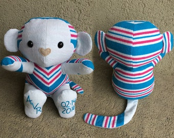 Keepsake Memory Monkey stuffed animal made from your baby sleepers, baby clothes, coming home outfit, hospital blanket, clothing