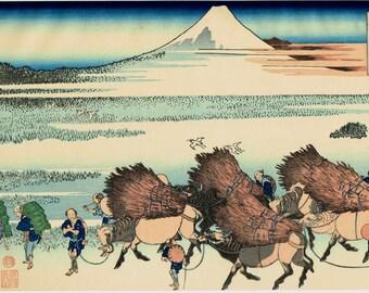 "Japanese Ukiyo-e Woodblock print, Katsushika Hokusai, ""Ōno Shinden in the Suruga Province, from the series Thirty-six Views of Mount Fuji"""