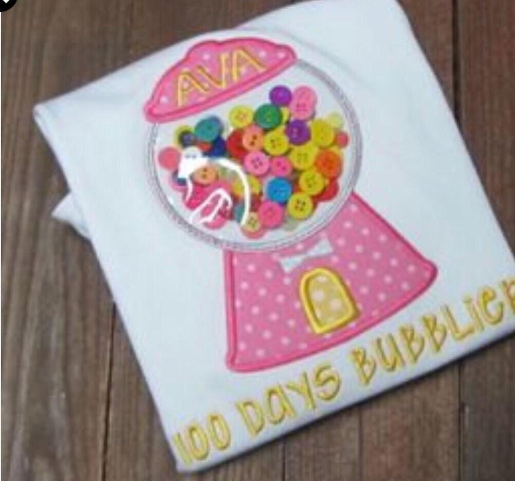 100 days of school shirt Bubblegum Machine Applique Shirt