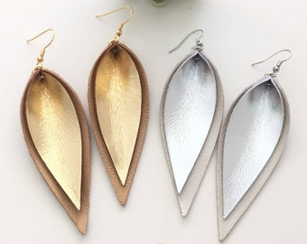 layered gold silver metallic leather leaf earrings / Joanna Gaines magnolia earrings / double layered leather earrings