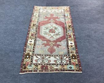 3.2x5.8 ft - 96x172 cm Vintage Oushak Rug, Small Oushak Rug, Turkish Rug, Oriental Rug, Decorative Rug, Geometric Designed Rug