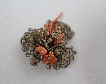 Victorian Filigree Brooch with Coral Flowers