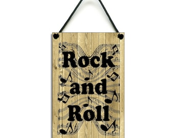 Rock and Roll Gift Handmade Wooden Home Music Sign/Plaque 222