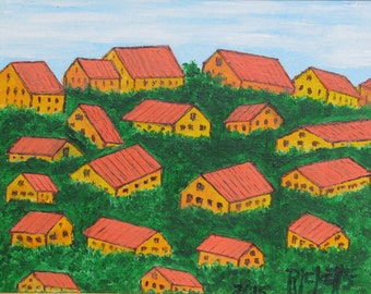 TOWN On A HILL - Original Acrylic Painting 11x8.5 Framed No. 668