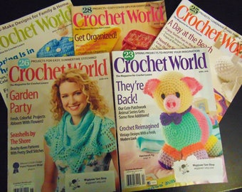 Crochet World Magazine set of 5 crochet patterns,  set of 5 patchwork animals - April 2012, June 2013, August 2013. April 2016, June 2016