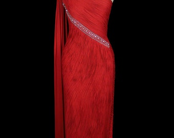 Madame Gres dress, vintage beaded red silk jersey grecian goddess gown, red carpet formal, Alix Gres, french haute couture, crystals