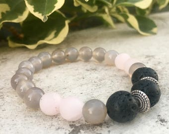 Grey Quartz, Rose Quartz Gemstone And Lava Diffuser Bracelet, Aromatherapy Jewelry, Chakra jewelry, Healing Properties, Natural Remedy