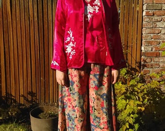 1930s red silk two piece pajama jacket + top set // medium