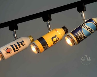 Track Lighting Fixture, Aluminum Beer bottles, 3 Track lights and Track. Beer can.
