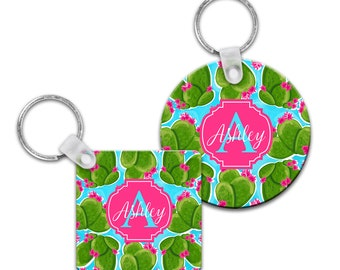 Preppy Cactus Personalized Keychain - Square or Round