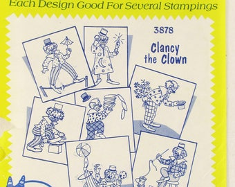 Aunt Martha's Hot Iron Transfers Clancy the Clown #3878 uncut and unused