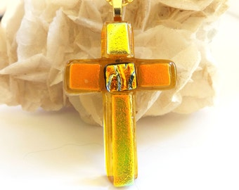 Dichroic fused glass Cross pendant. Yellow and gold Cross necklace. Fused glass Cross pendant. Large glass Christian pendant. Christian gift