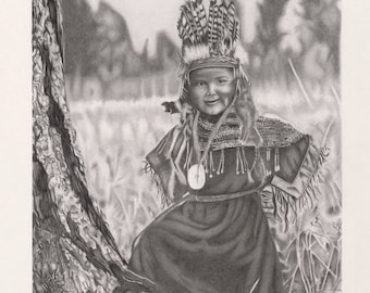 Native American Umpqua Boy Graphite Professional Giclee Print. Available to order now.