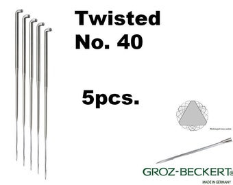 Twisted felting needles, Gauge 40. Price for 5pcs. Made in Germany.