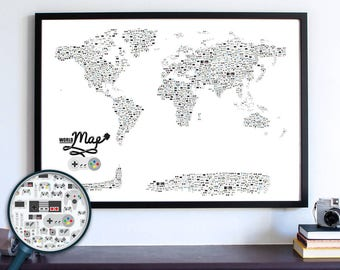 Video Game Decor, Xbox One Controller, Video Game Poster Gift, Nintendo Man Cave World Map, Dorm Room Wall Art Decor, Video Game Controller