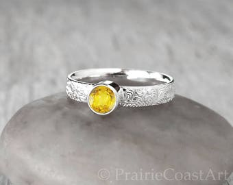 Topaz Ring in Sterling Silver - Handcrafted Topaz Ring -  Yellow Topaz stacking Ring - November Birthstone Ring