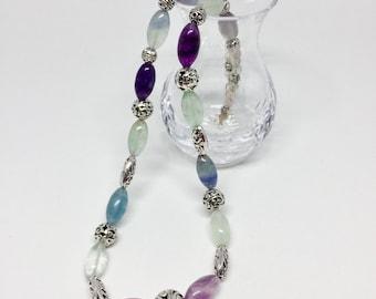 Rainbow fluorite necklace, rainbow fluorite jewelry, purple stone necklace, purple stone jewelry, green stone necklace, purple green jewelry