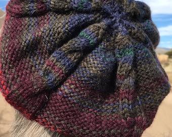 Handknit wool  hat/ beret