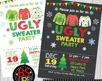 Items Similar To Hatch Show Print Christmas Party Invitations - Ugly sweater christmas party invitations template