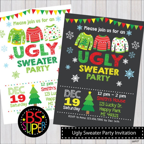 Ugly christmas sweater invitations Christmas Invitations Ugly Sweater Christmas Party Invitation Ugly Sweater Party Invite