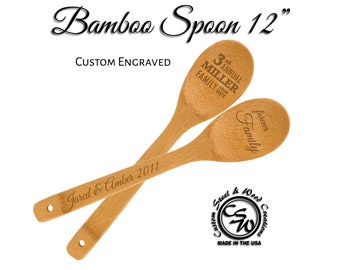 Laser Engraved Bamboo Spoon Wedding Favors | Wooden Spoons Personalized | Cooking Party Favor | Wedding Shower Favor | Chef Cooking Spoon