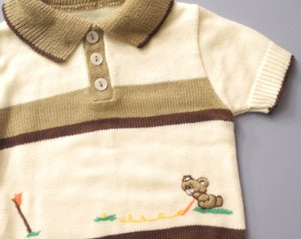 Vintage Baby Clothes, 1940's Brown and Cream Knit Two Piece Baby Boy Romper, Vintage Baby Romper, Light Brown Baby Romper, Size 6-12 Months