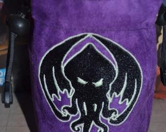 Dice Bag Purple Cthulhu Glow in the Dark Embroidery