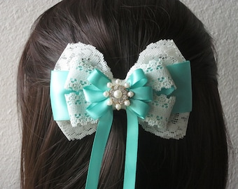 Handmade Couture Aqua Robin's Egg Blue Satin Ivory Lace Bow, Large Fancy Hair Accessory, Bridal, Flower Girl, Quinceanera, Barrette, Clip