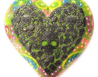 Day of the Dead, Milagros Heart, Catrina Sugar Skull, Dia de Los Muertos, Mexican Milagro Charms