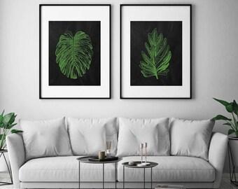 Industrial Island Botanicals (Series 2A) Set of 2 - Art Prints (Featured in Apple on Blackboard) Botanical Beach Art Prints