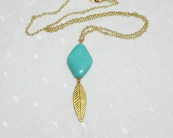 "Long Turquoise Gold or Silver Leaf Feather & Matching Chain Necklace Adjustable 4"" Extender Chain"