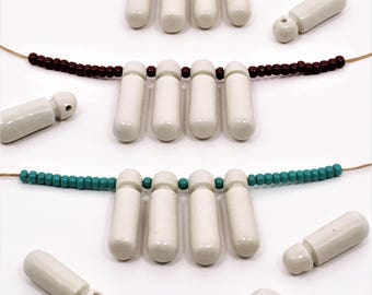 Porcelain Dropbeads in Gloss White, Limited Edition