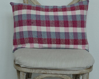 14X20 Lumbar The Widow's Mite Project Spring Collection Pink and Grey Plaid Pillow Cover