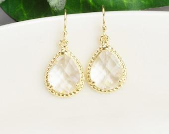 Clear Earrings - Gold Dangle Earrings - Glass Earrings - Bridesmaid Jewelry - Teardrop Earrings - Wedding Jewelry - Bridemaids Earrings