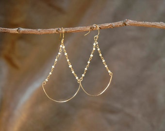 tiny freshwater pearl beads chandlier earrings, june birthstone, natural pearl dangle earrings, wedding jewelry, gold earrings
