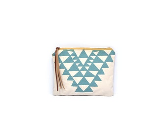 cosmetic pouch • geometric print zipper bag • waxed canvas • large clutch - make up bag • aqua blue - black and white - red orange