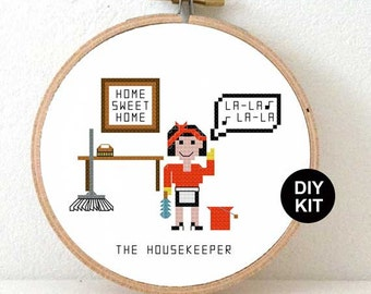 Housekeeper Cross Stitch Kit. Funny gift for House cleaner. DIY Christmas gifts for cleaning lady. Unique caretaker gifts guide