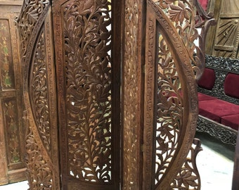 Unique Vintage Arched Beautiful Floral Hand-Carved WOOD 4 Panel Screen Room Divider