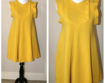 Mod Vintage GÉRARD DAREL dress, French, Paris, iconic, bright yellow. Designer's Dress, Luxury Dress, Sleeveless Dress.