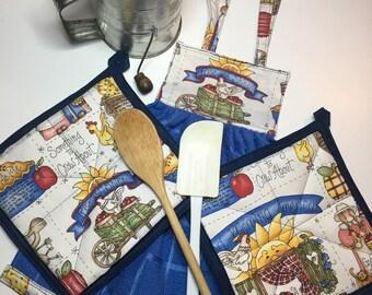 Oven Door Towel & Potholders - Rise and Shine