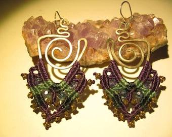 Gypsie macramé earrings with cristals in alpaca wire