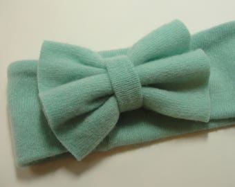Upcycled Turquoise Cashmere Earwarmer Headband with Bow