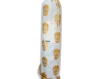 Gold skull White Wobble Yoga bag