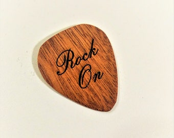 Inspirational Music Guitar Pick, Personalized Custom Engraved Rock On Plectrum, Wood Laser Burned Guitar Pick, Rock On Guitar Pick