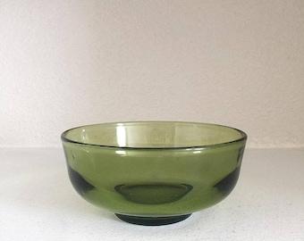 Vintage Avocado Green Glass Bowl - Vintage Green Glass Bowl - Retro Green Bowl - Avocado Green Bowl - Small Vintage Bowl - Retro Bowl