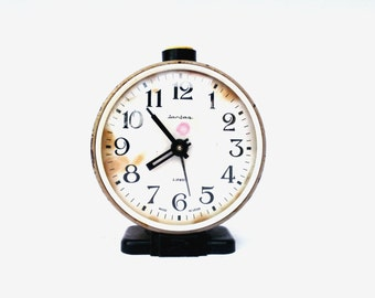 Vintage soviet union alarm clock Jantar gray mechanical clock retro clock mid century alarm clock Christmas home decor made in USSR 70s