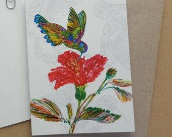 Hummingbird & Flower, Birthday Card Flower, Get Well Card, Birthday Card, Flower Card, Friendship Card, Thinking of You Card, Bird, Flowers