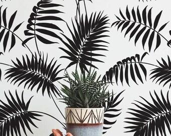 Palm Areca Pattern Wallpaper, Removable Wallpaper, Palm Areca Wallpaper, Palm Wall Sticker, Palm Areca Self Adhesive Wallpaper, 095