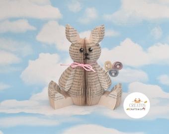 Rabbit Gift - Rabbit lover gift -Book Art Bunny- Easter Gift - Rabbit - paper flowers - Easter flowers - Easter bunny - paper roses - 3D