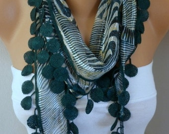 Emerald Green Zebra Scarf Summer Scarf Necklace Cotton Shawl Cowl Gift Ideas for Her  Women's Fashion Accessories Women Scarves